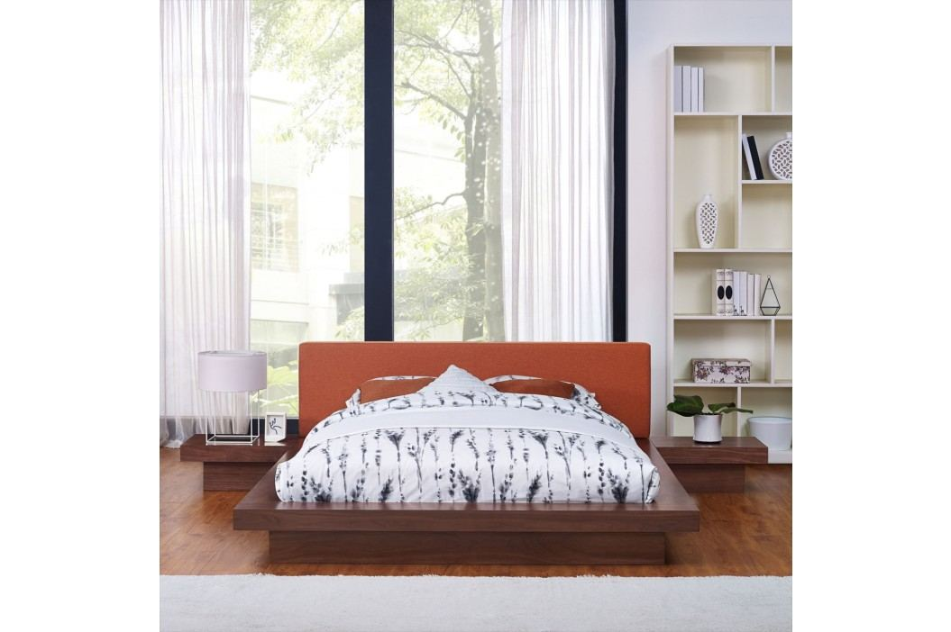 Freja 3 Piece Queen Fabric Bedroom Set in Walnut Orange Products