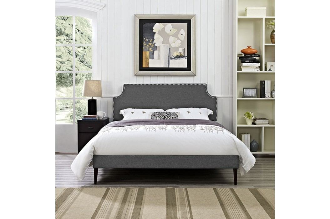 Laura Queen Fabric Platform Bed with Round Tapered Legs in Gray Beds