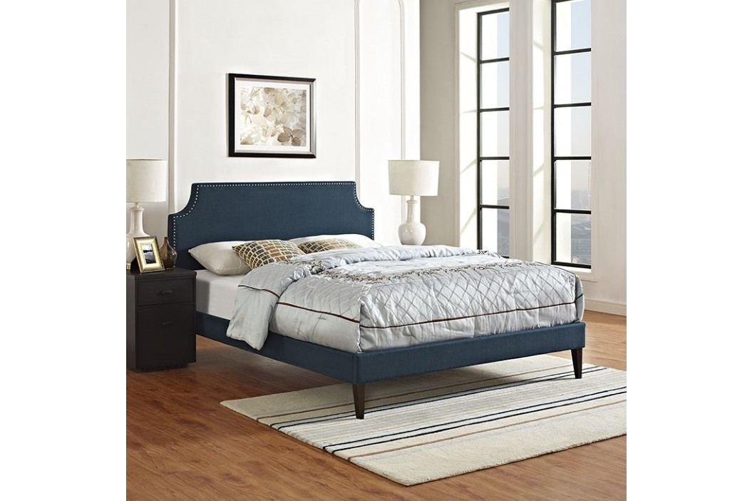 Laura Queen Fabric Platform Bed with Squared Tapered Legs in Azure Beds