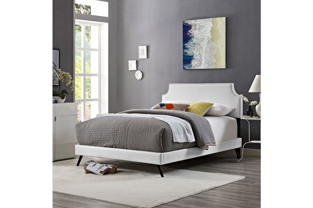 Laura Queen Vinyl Platform Bed with Round Splayed Legs in White Beds