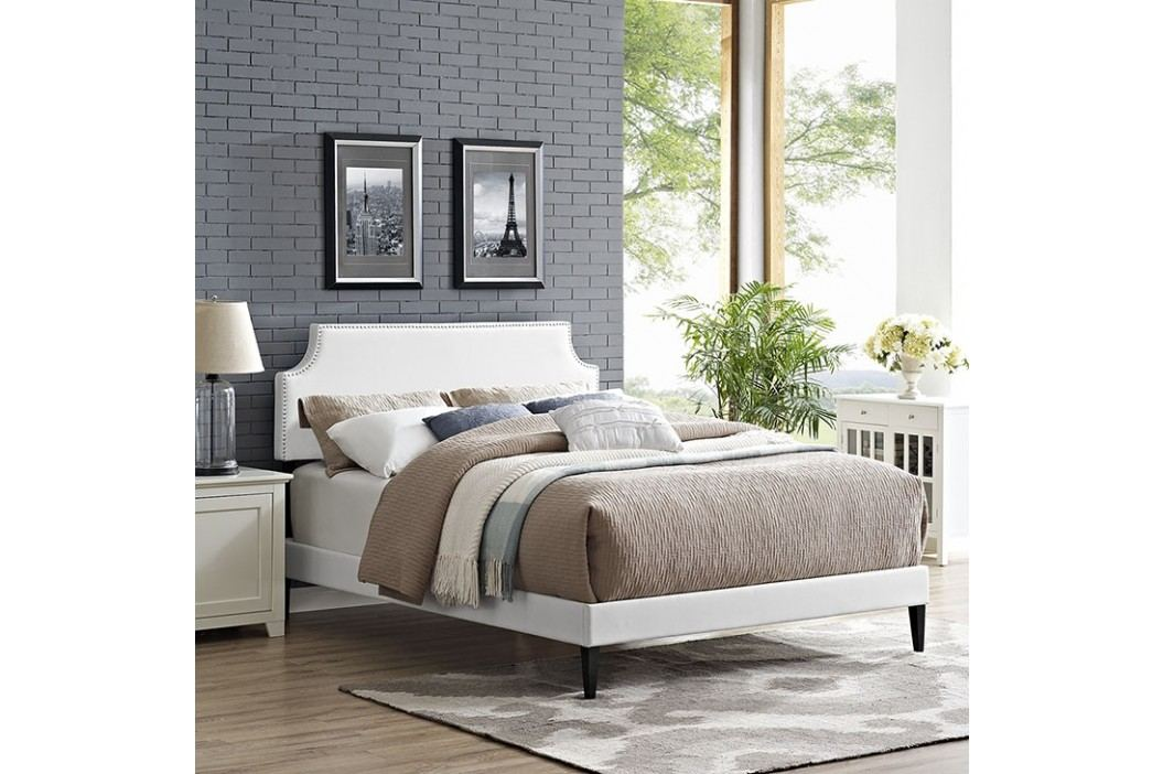 Laura Queen Vinyl Platform Bed with Squared Tapered Legs in White Beds