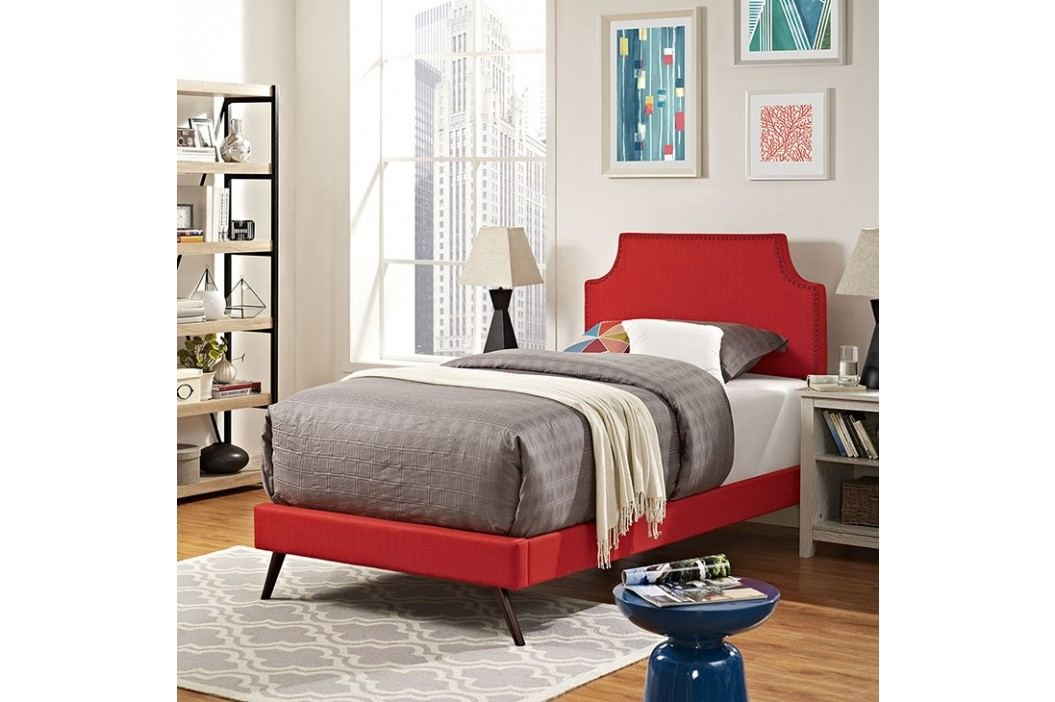 Laura Twin Fabric Platform Bed with Round Splayed Legs in Atomic Red Beds