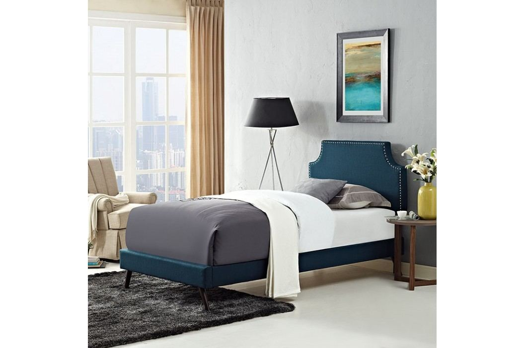 Laura Twin Fabric Platform Bed with Round Splayed Legs in Azure Beds