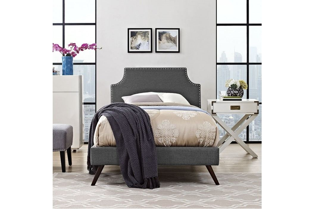 Laura Twin Fabric Platform Bed with Round Splayed Legs in Gray Beds