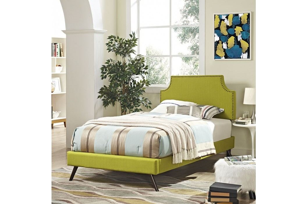 Laura Twin Fabric Platform Bed with Round Splayed Legs in Wheatgrass Beds