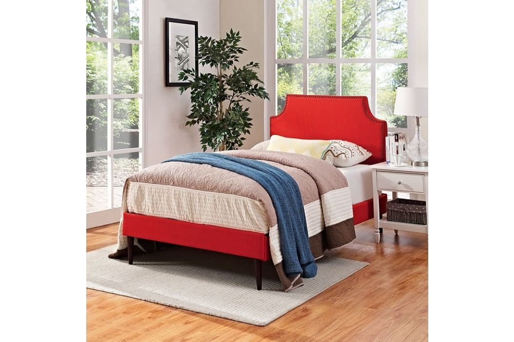 Laura Twin Fabric Platform Bed with Round Tapered Legs in Atomic Red Beds