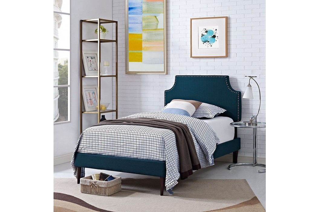 Laura Twin Fabric Platform Bed with Round Tapered Legs in Azure Beds
