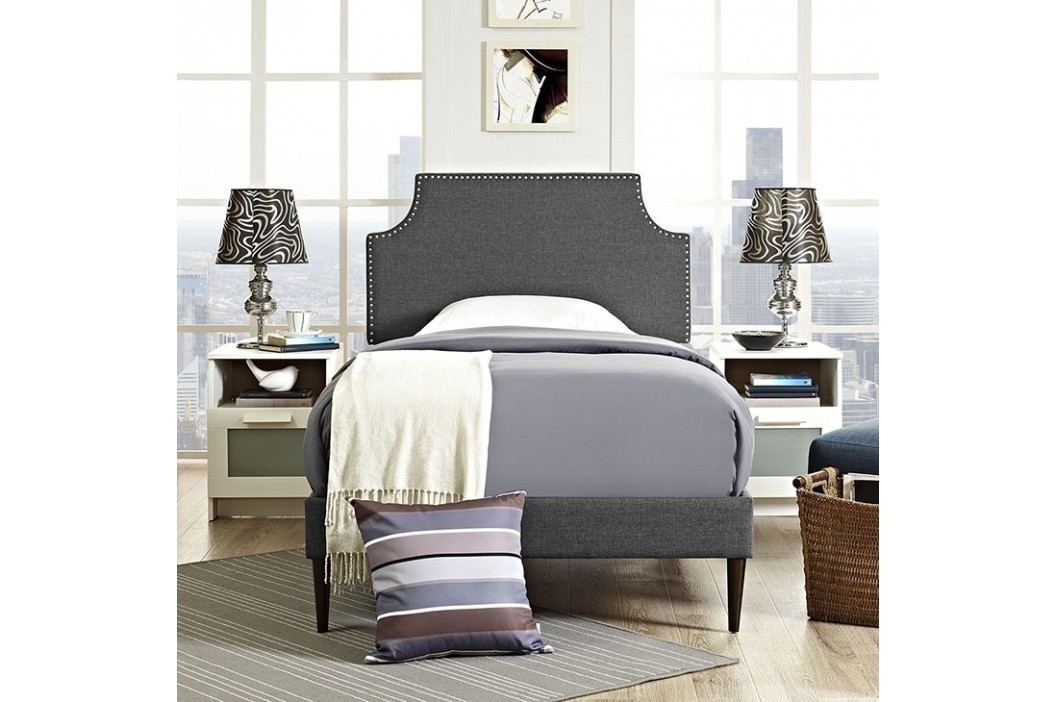Laura Twin Fabric Platform Bed with Round Tapered Legs in Gray Beds