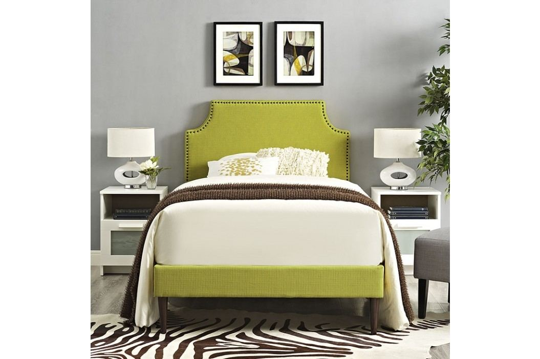 Laura Twin Fabric Platform Bed with Round Tapered Legs in Wheatgrass Beds