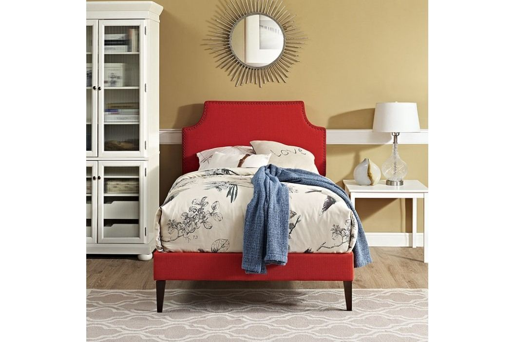 Laura Twin Fabric Platform Bed with Squared Tapered Legs in Atomic Red Beds