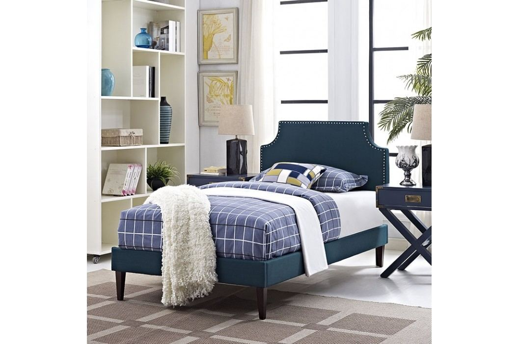 Laura Twin Fabric Platform Bed with Squared Tapered Legs in Azure Beds