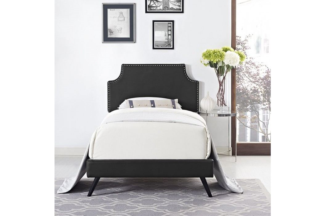 Laura Twin Vinyl Platform Bed with Round Splayed Legs in Black Beds