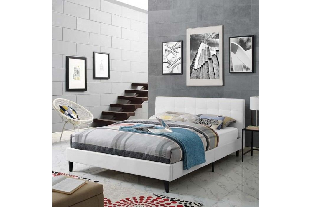 Linnea Full Faux Leather Bed in White Beds