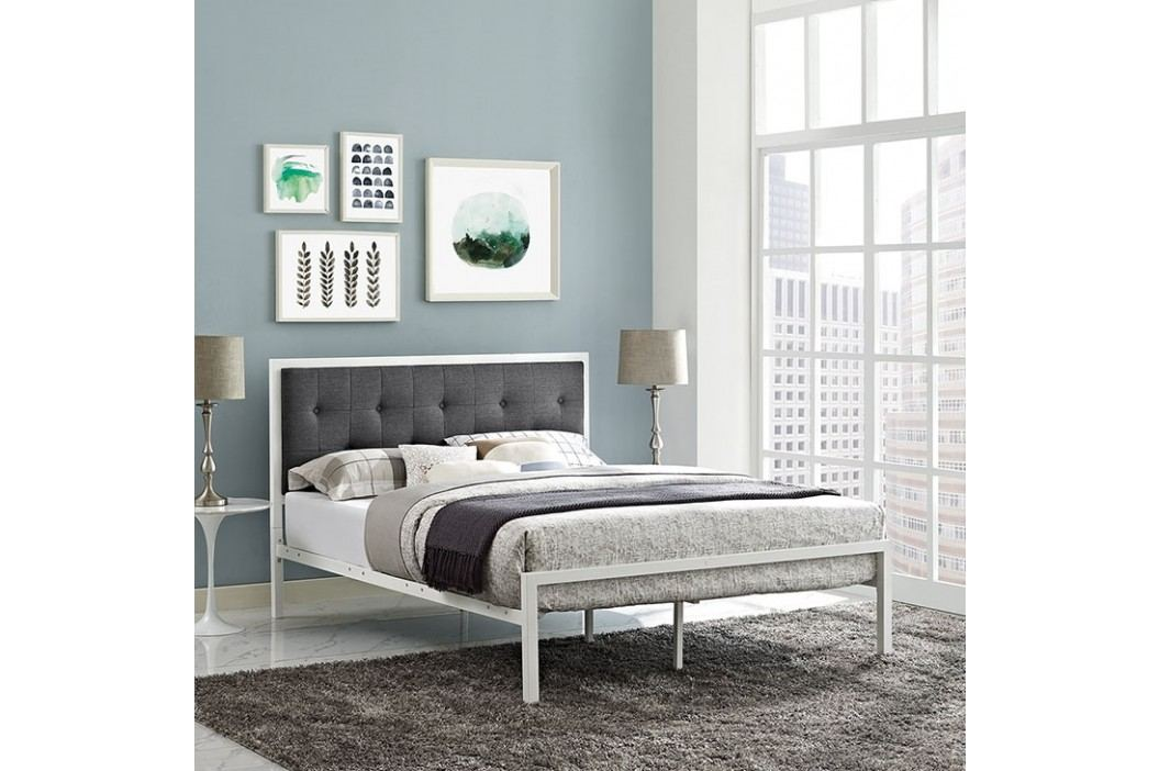Lottie Full Fabric Bed in White Gray Beds