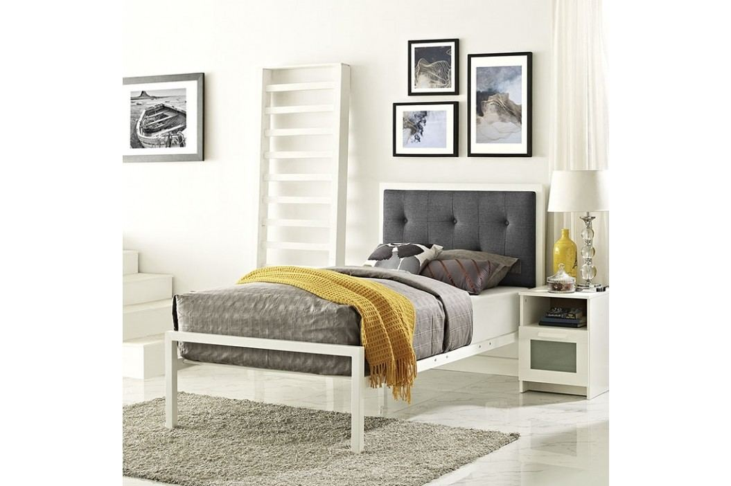 Lottie Twin Fabric Bed in White Gray Beds