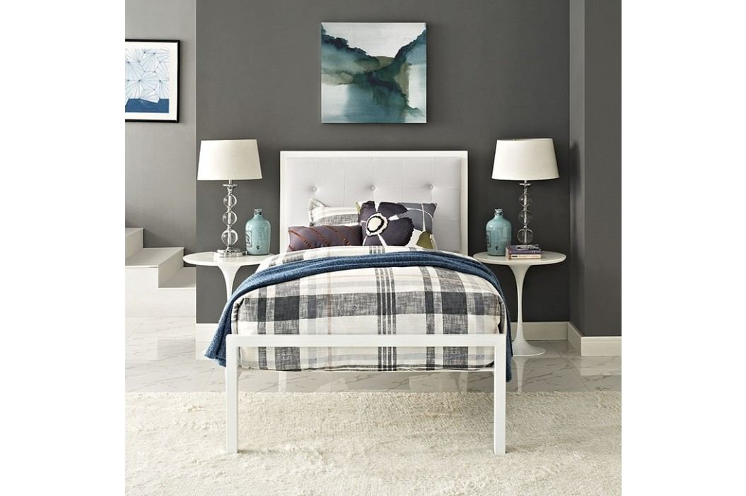 Lottie Twin Vinyl Bed in White White Beds