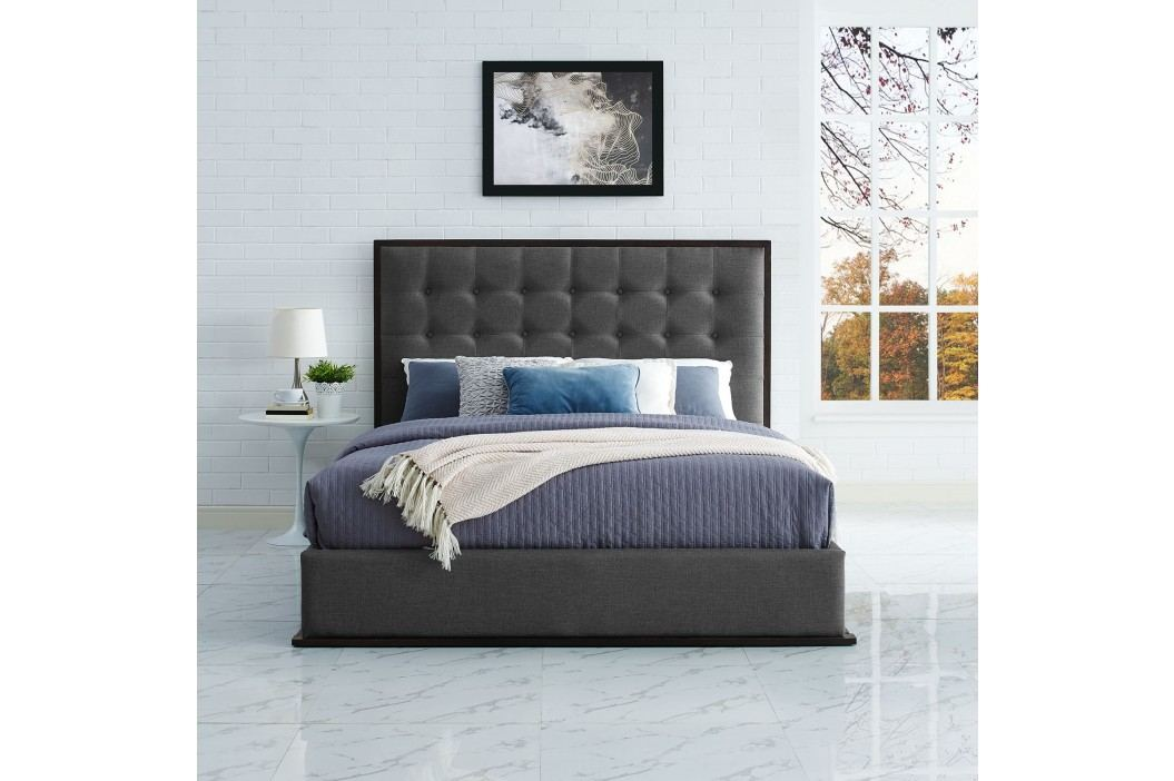 Madeline Queen Upholstered Bed Frame in Cappuccino Smoke Beds