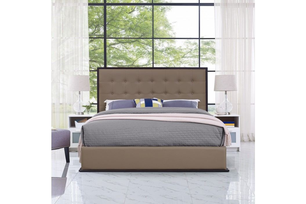 Madeline Queen Vinyl Bed Frame in Cappuccino Brown Beds