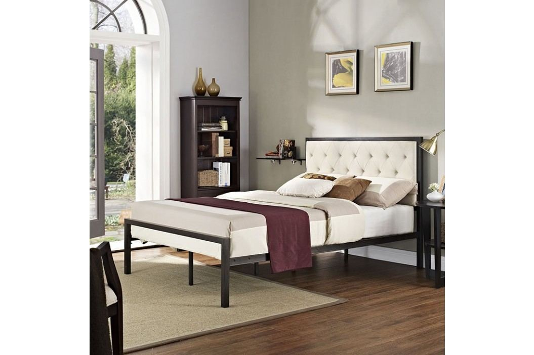 Mia Full Fabric Bed in Brown Beige Beds