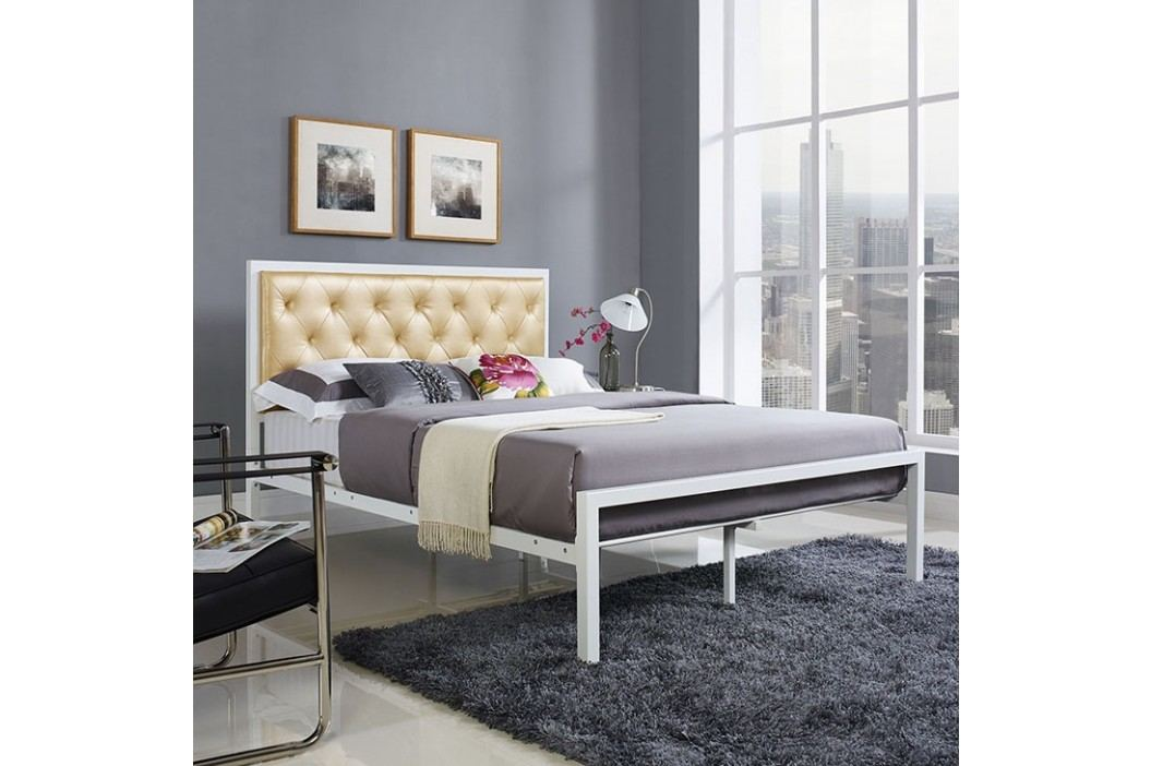 Mia Full Vinyl Bed in White Champagne Beds