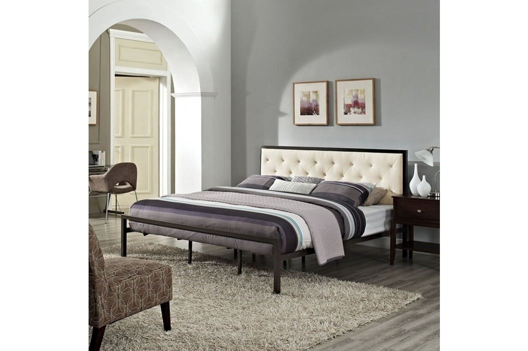 Mia King Fabric Bed in Brown Beige Beds