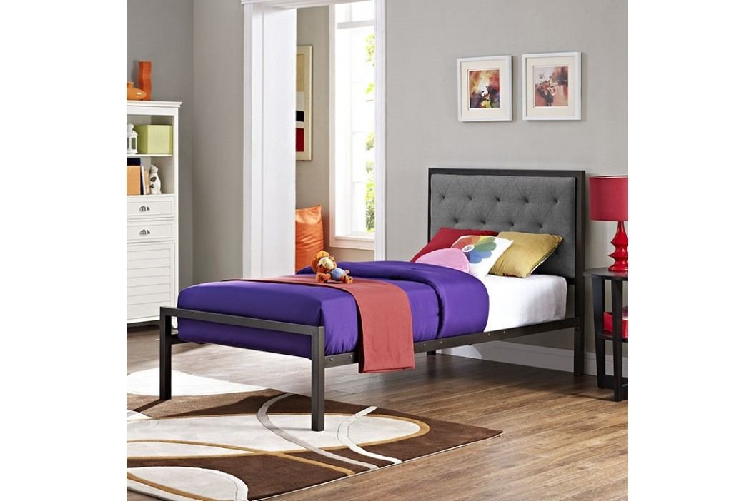 Mia Twin Fabric Bed in Brown Gray Beds