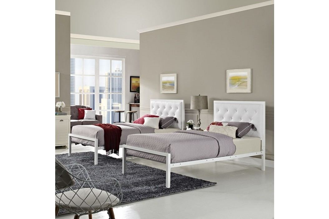 Mia Twin Vinyl Bed in White White Beds