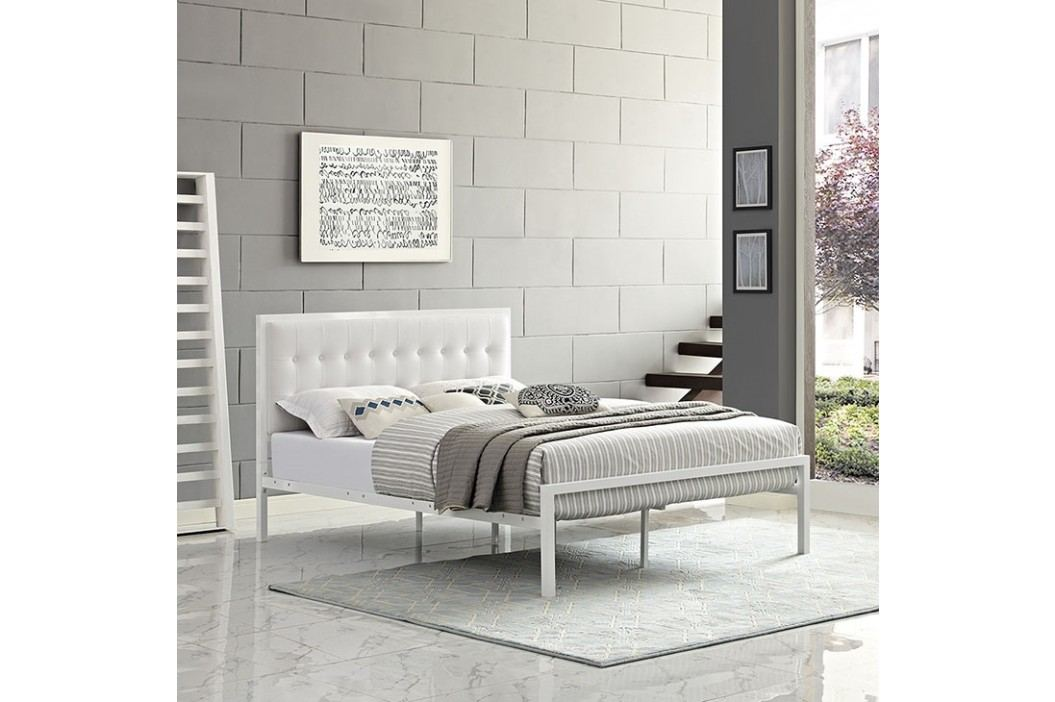 Millie King Vinyl Bed in White White Beds