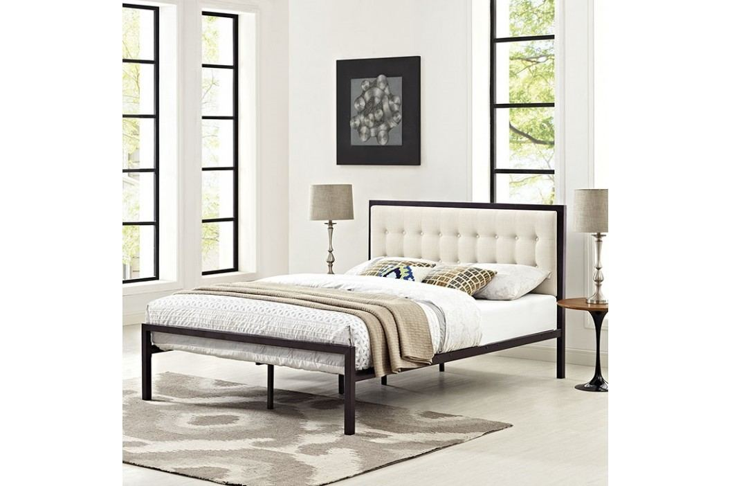 Millie Queen Fabric Bed in Brown Beige Beds