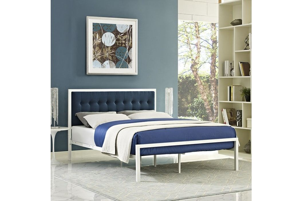 Millie Queen Fabric Bed in White Azure Beds