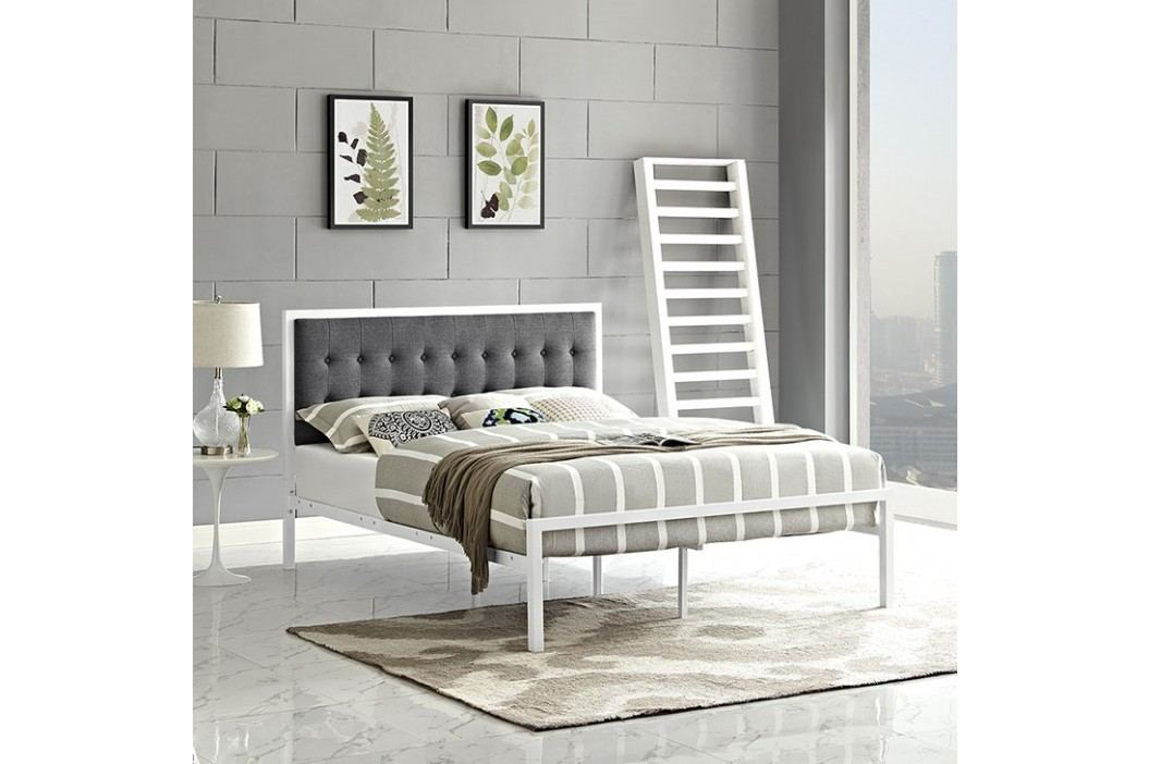 Millie Queen Fabric Bed in White Gray Beds