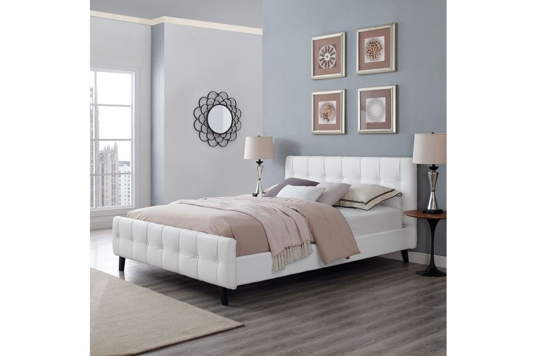 Ophelia Queen Vinyl Bed in White Beds