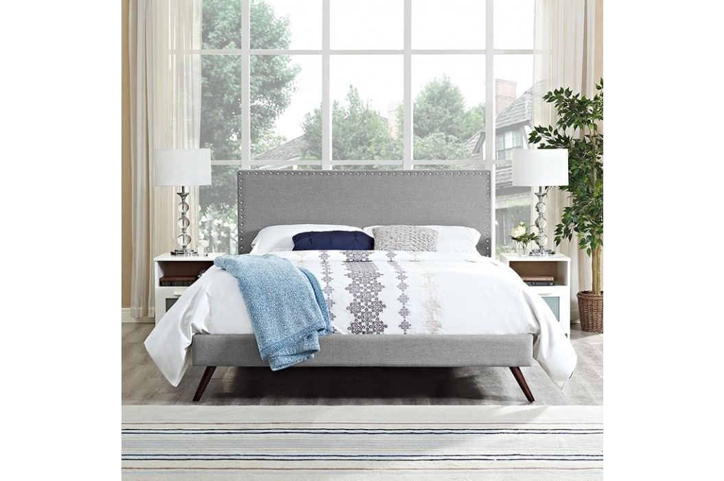 Phoebe Full Fabric Platform Bed with Round Splayed Legs in Light Gray Beds