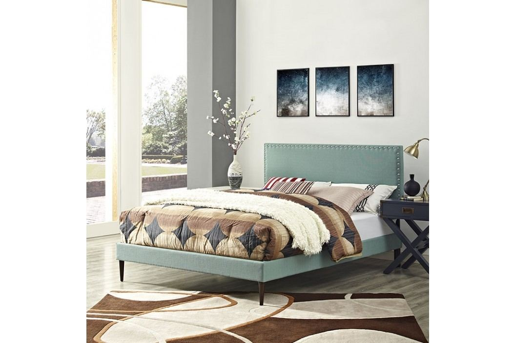 Phoebe Full Fabric Platform Bed with Round Tapered Legs in Laguna Beds