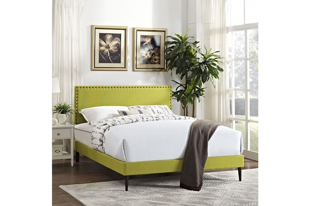 Phoebe Full Fabric Platform Bed with Round Tapered Legs in Wheatgrass Beds