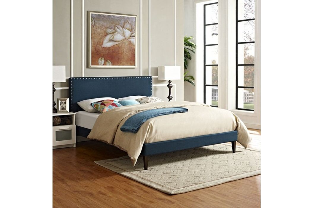 Phoebe Full Fabric Platform Bed with Squared Tapered Legs in Azure Beds