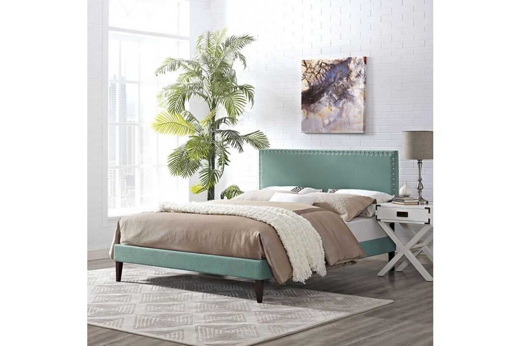 Phoebe Full Fabric Platform Bed with Squared Tapered Legs in Laguna Beds