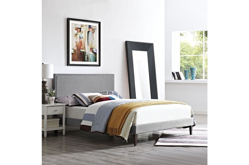 Phoebe Full Fabric Platform Bed with Squared Tapered Legs in Light Gray Beds