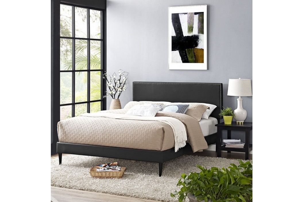 Phoebe Full Vinyl Platform Bed with Round Tapered Legs in Black Beds