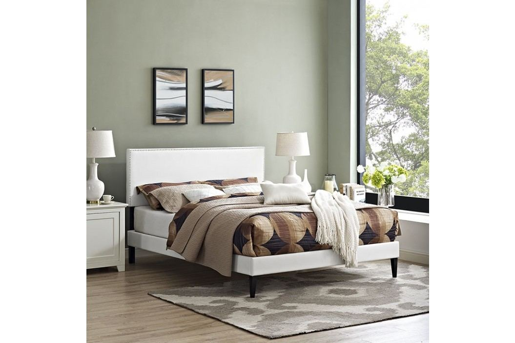 Phoebe Full Vinyl Platform Bed with Squared Tapered Legs in White Beds