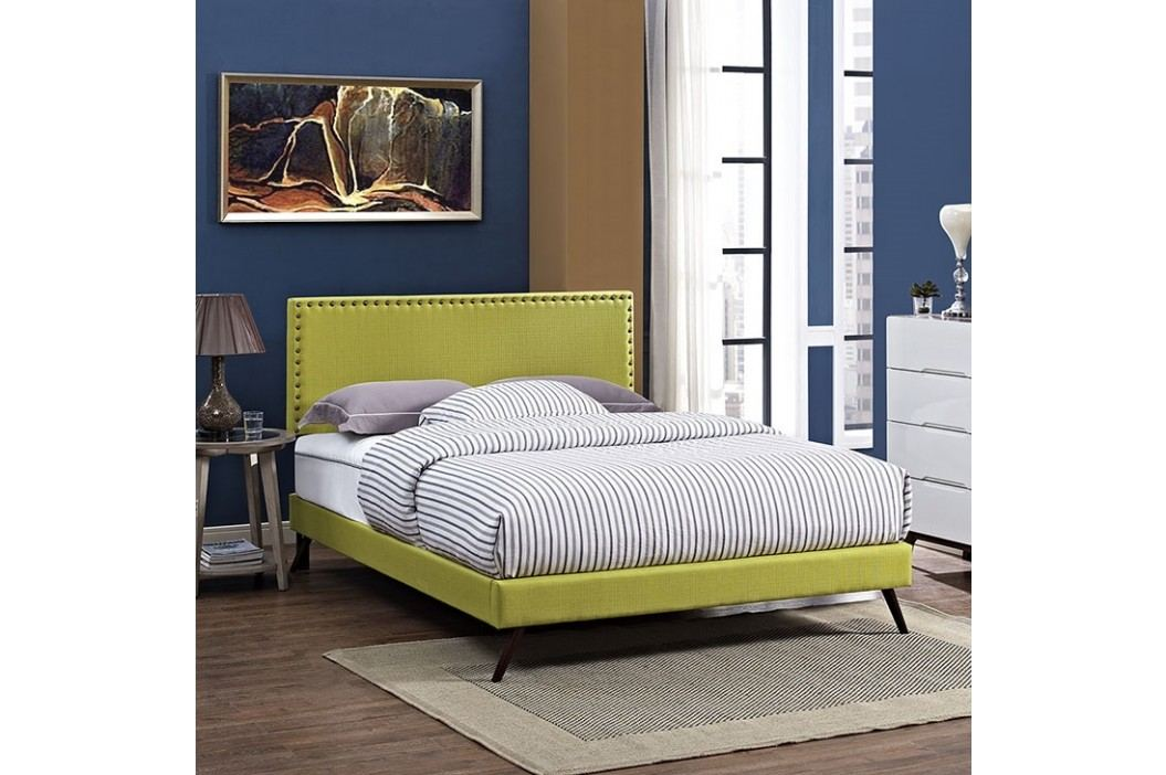 Phoebe King Fabric Platform Bed with Round Splayed Legs in Wheatgrass Beds