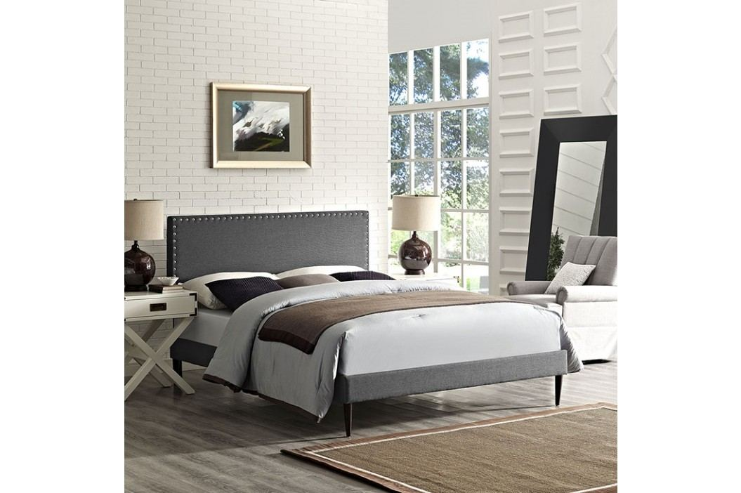 Phoebe King Fabric Platform Bed with Round Tapered Legs in Gray Beds