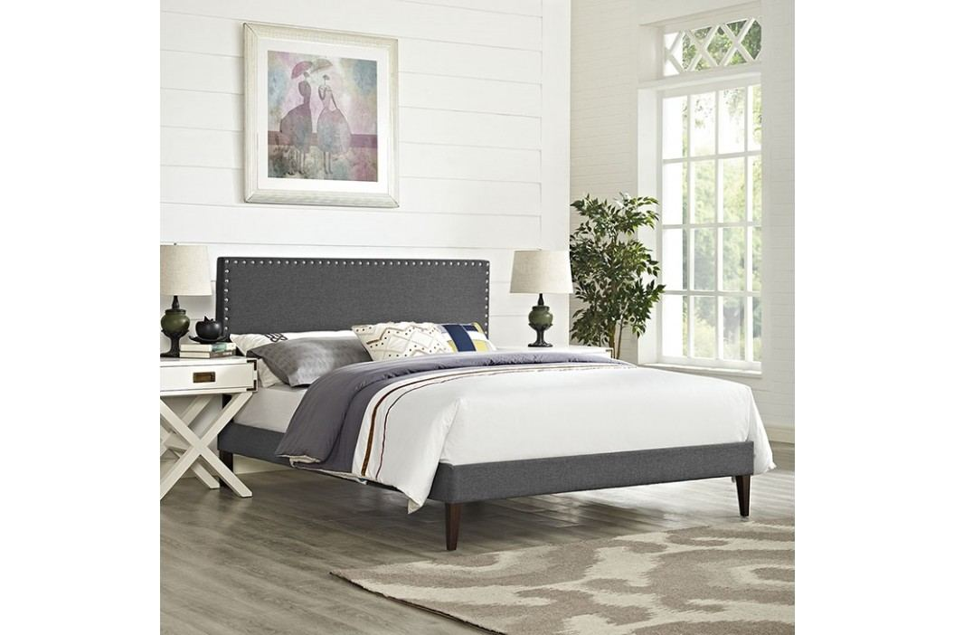 Phoebe King Fabric Platform Bed with Squared Tapered Legs in Gray Beds