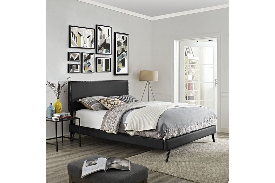 Phoebe King Vinyl Platform Bed with Round Splayed Legs in Black Beds