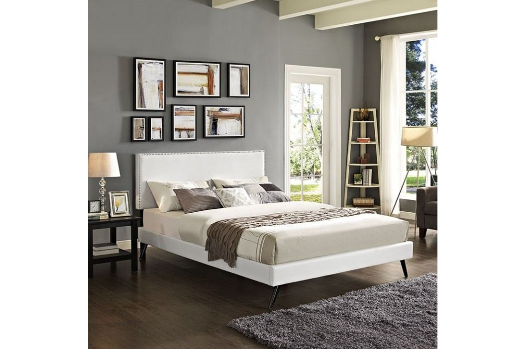 Phoebe King Vinyl Platform Bed with Round Splayed Legs in White Beds