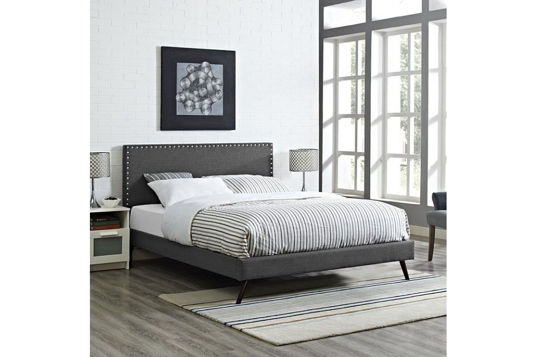 Phoebe Queen Fabric Platform Bed with Round Splayed Legs in Gray Beds