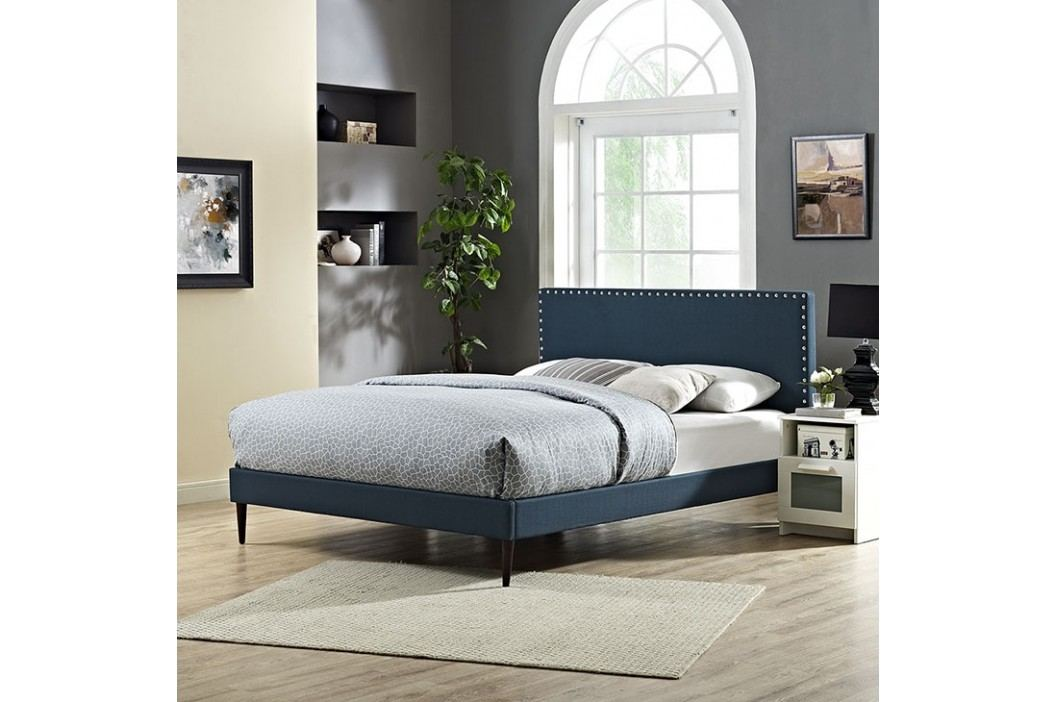 Phoebe Queen Fabric Platform Bed with Round Tapered Legs in Azure Beds