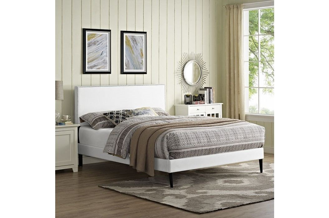 Phoebe  Queen Vinyl Platform Bed with Round Tapered Legs in White Beds