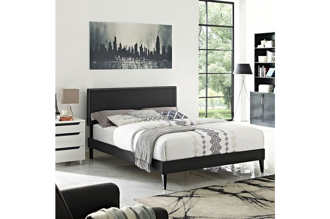 Phoebe  Queen Vinyl Platform Bed with Squared Tapered Legs in Black Beds