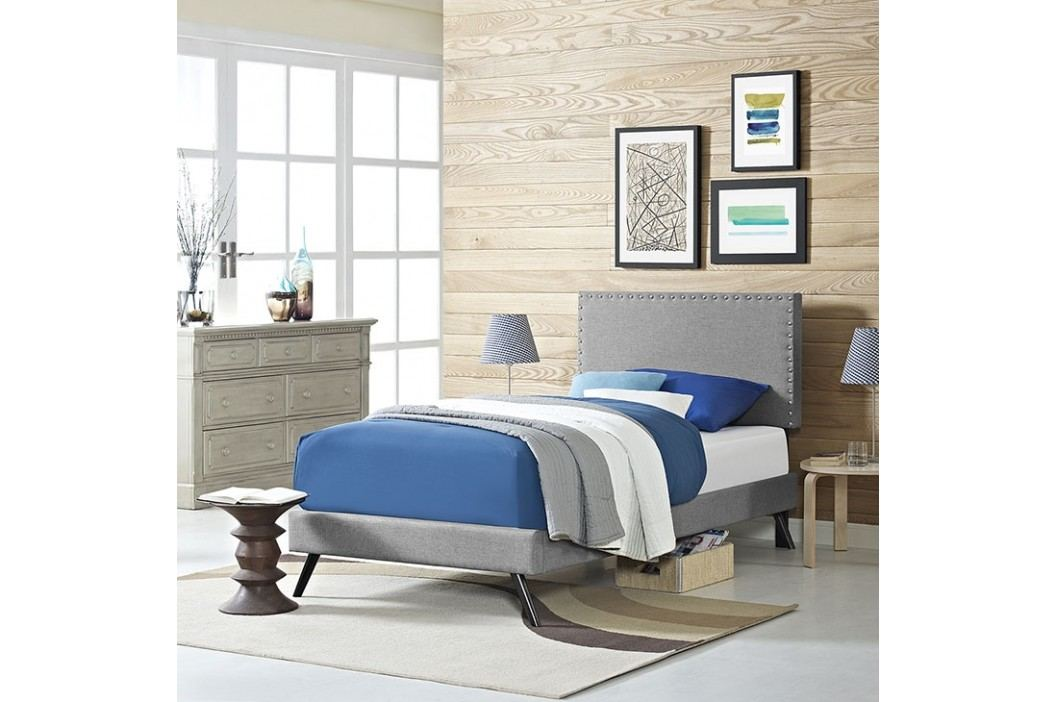 Phoebe  Twin Fabric Platform Bed with Round Splayed Legs in Light Gray